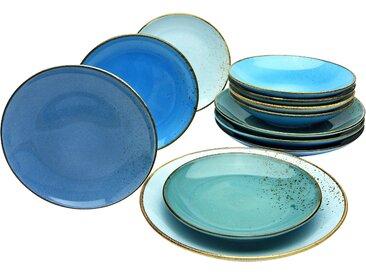 CreaTable Tafelservice NATURE COLLECTION Aqua, (Set, 12 tlg.) Einheitsgröße blau Geschirr-Sets Geschirr, Porzellan Tischaccessoires Haushaltswaren