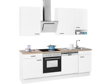 OPTIFIT Küchenzeile Elga, ohne E-Geräte, Premium-Küche mit Soft-Close-Funktion, Vollauszug, höhenverstellbaren Füßen, Metallgriffen und 38 mm starker Arbeitsplatte, Breite 230 cm B: weiß Küchenzeilen Geräte -blöcke Küchenmöbel