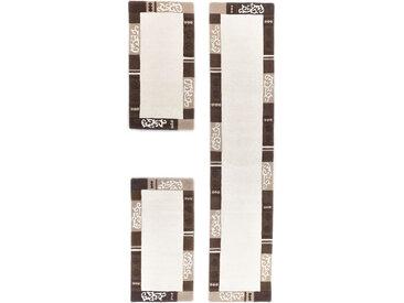 THEKO Bettumrandung Ambadi, Bettvorleger, Läufer-Set für das Schlafzimmer, reine Wolle, mit Bordüre B/L (Brücke): 70 cm x 140 (2 St.) (Läufer): 340 (1 St.), U-förmig beige Bettumrandungen Läufer Teppiche