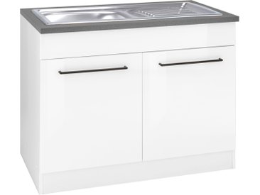 HELD MÖBEL Spülenschrank Tulsa, 100 cm breit, 2 Türen, schwarzer Metallgriff, hochwertige MDF Front, inkl. Einbauspüle aus Edelstahl x 85 60 (B H T) cm, 2-türig weiß Spülenschränke Küchenschränke Küchenmöbel Schränke