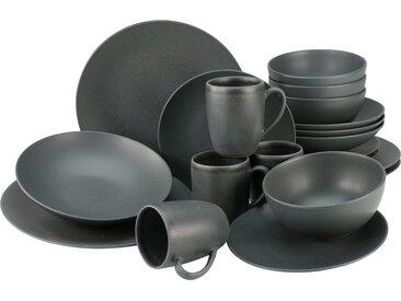 CreaTable Kombiservice Soft Touch Black, (Set, 20 tlg.), seidenmatte Glasur Einheitsgröße schwarz Geschirr-Sets Geschirr, Porzellan Tischaccessoires Haushaltswaren