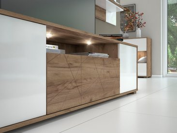 Places of Style TV-Board Stela, mit Push-to-open und Soft-Close-Funktion B/H/T: 180 cm x 48,4 46,5 cm, 1 weiß Lowboards Kommoden Sideboards