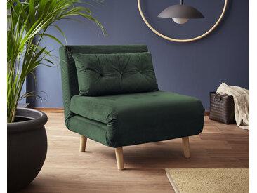 my home Daybett, mit ausziehbaren Metallstützbeinen, Schlafsessel in zwei Größen erhältlich, modernes Gästebett Samtvelours Breite: 77 cm, Liegefläche B/L: cm x 195 Höhe: kein Härtegrad, Schaumstoffmatratze grün Tagesbetten Gästebetten Betten Daybett