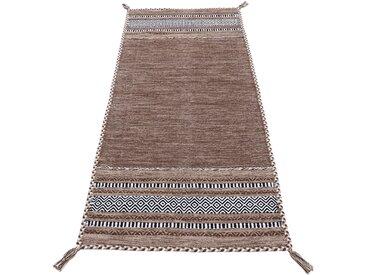 carpetfine Läufer Kelim Azizi, rechteckig, 5 mm Höhe, aus reiner Baumwolle mit Fransen, Wohnzimmer 80x400 cm, braun Teppichläufer Bettumrandungen Teppiche