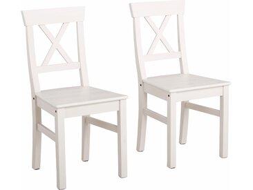Home affaire 4-Fußstuhl Malaga 6 Stück weiß Holzstühle Stühle Sitzbänke