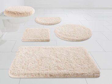Kleine Wolke EXKLUSIV Badematte Mellow, Höhe 40 mm, rutschhemmend beschichtet halbrund (50 cm x 80 cm), 1 St. beige Einfarbige Badematten