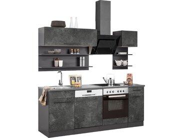 HELD MÖBEL Küchenzeile Tulsa, ohne E-Geräte, Breite 210 cm, schwarze Metallgriffe, hochwertige MDF Fronten B: cm grau Küchenzeilen Geräte -blöcke Küchenmöbel