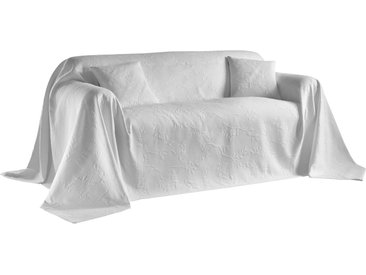 Sofaüberwurf mit Vögel- und Blättermotiv 3, ca. 250/330 cm weiß Sofaüberwürfe Hussen Überwürfe