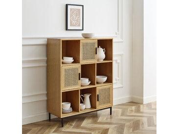 Leonique Regal Naemi, Mit Wiener-Geflecht Einsätzen und den Türen, viel Stauraum B/H/T: 100 cm x 125 40 cm, 9 beige Regale Garderoben Nachhaltige Möbel