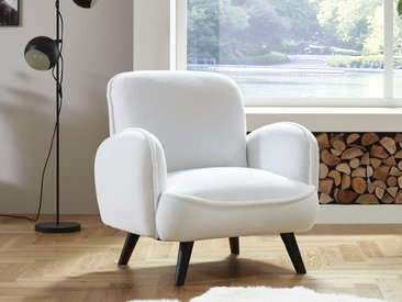 ATLANTIC home collection Sessel, mit Wellenunterfederung Fellimitat, B/H/T: 88 cm x 84 86 weiß Lesesessel Sessel