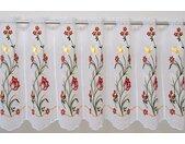 Stickereien Plauen Scheibengardine Tulpe, veredelt mit echter Plauener Spitze Stickerei 40 cm, Durchzuglöcher, 210 cm weiß Wohnzimmergardinen Gardinen nach Räumen Vorhänge