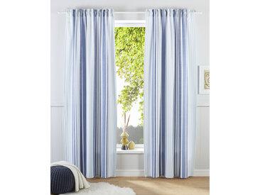 my home Gardine Stripe, Nachhaltig 145 cm, Multifunktionsband, 110 cm blau Blickdichte Vorhänge Gardinen