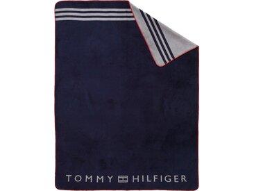 Plaid Fleece, TOMMY HILFIGER 150x200 cm, Baumwolle-Kunstfaser blau Baumwolldecken Decken Wohndecken