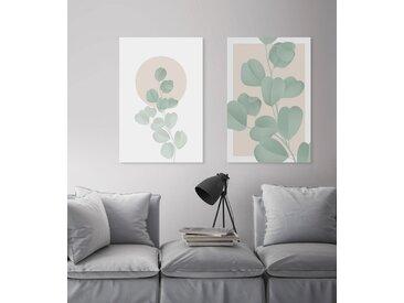 queence Leinwandbild Blätter mit rosa Hintergrund 80x120 cm grün Leinwandbilder Bilder Bilderrahmen Wohnaccessoires