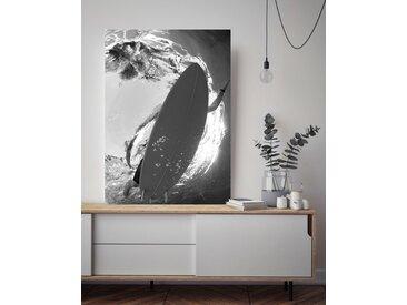 queence Acrylglasbild Surfer im Meer 100x150 cm schwarz Acrylglasbilder Bilder Bilderrahmen Wohnaccessoires