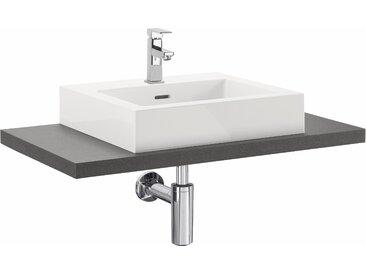 OPTIFIT Waschtisch Doha, mit Design-Siphon, Aufsatzbecken eckig Einheitsgröße grau Waschtische Badmöbel