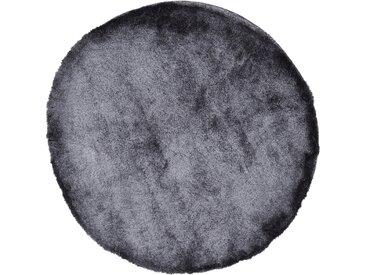 Hochflor-Teppich, Breeze, carpetfine, rund, Höhe 45 mm, handgetuftet (Ø 200 cm), mm grau Shaggy-Teppiche Hochflor-Teppiche Teppiche
