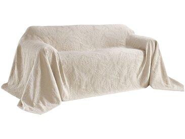 Sofaüberwurf mit schönem Blätterdessin 4, ca. 250/370 cm grau Sofaüberwürfe Hussen Überwürfe