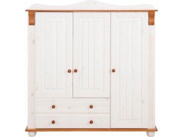 Home affaire Mehrzweckschrank Adele, aus massiver Kiefer B/H/T: 130 cm x 135 40 cm, 3 weiß Drehtürenschränke Kleiderschränke