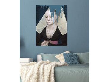 queence Acrylglasbild Nonne 100x150 cm blau Acrylglasbilder Bilder Bilderrahmen Wohnaccessoires