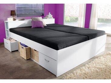 Breckle Stauraumbett 140x200 cm Höhe Bettseite: 46 cm, Federkernmatratze, H2 weiß Einzelbetten Betten