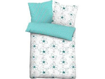 Wendebettwäsche Franziska, Biberna 0, 1x 135x200 cm, 80x80 Soft-Seersucker grün Sommerbettwäsche Bettwäsche, Bettlaken und Betttücher Bettwäsche