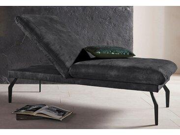 Places of Style Hockerbank Salerno, durch Rückenverstellung vollwertiges Sitzmöbel Luxus-Microfaser Lederoptik schwarz Polsterhocker Sessel und Hocker Sofas Couches