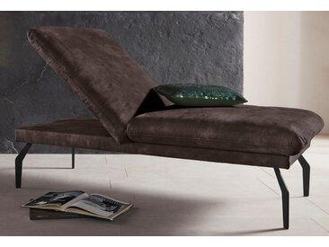Places of Style Hockerbank Salerno, durch Rückenverstellung vollwertiges Sitzmöbel Luxus-Microfaser Lederoptik braun Polsterhocker Sessel und Hocker Sofas Couches