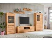 Premium collection by Home affaire Wohnwand Burani, (Set, 4 St.), teilmassives Holz Holzwerkstoff Kernbuchefarben (Korpus)/ Massivholz Kernbuche (Front) braun Wohnwände