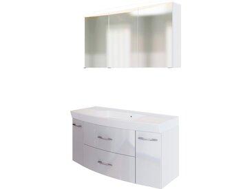 HELD MÖBEL Badmöbel-Set Florida, (2 St.), Breite 120 cm, bestehend aus Spiegelschrank und Waschtisch mit gewölbter Front, Softclose-Funktion Einheitsgröße weiß Bad-Sparsets Badmöbel