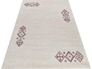 THEKO Wollteppich Taza Royal 609, rechteckig, 28 mm Höhe, reine Wolle, echter Berber, handgeknüpft, Wohnzimmer 33, 140x200 cm, weiß Schlafzimmerteppiche Teppiche nach Räumen