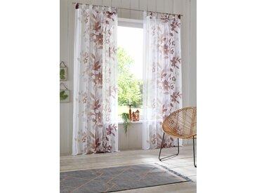 Home affaire Gardine Ina, Vorhang, Fertiggardine, transparent 145 cm, Schlaufen, 144 cm braun Wohnzimmergardinen Gardinen nach Räumen Vorhänge