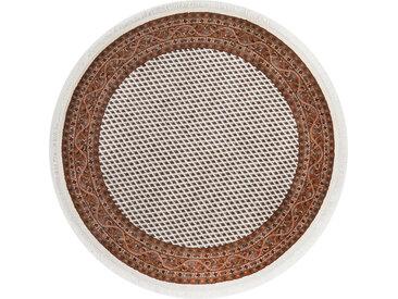 THEKO Orientteppich Chandi Mir, rund, 12 mm Höhe, reine Wolle handgeknüpft, mit Fransen, Wohnzimmer Ø 200 cm, 1 St. beige Esszimmerteppiche Teppiche nach Räumen