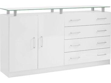borchardt Möbel Kommode Finn, Breite 152 cm, mit Glasablage B/H/T: cm x 87 38 Anzahl Schubladen: 4 weiß Kombikommoden Kommoden Sideboards