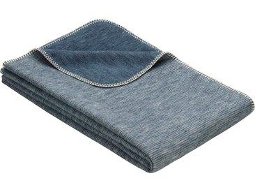 IBENA Wohndecke Lausanne, in Melange-Optik aus Bio-Baumwolle B/L: 140 cm x 200 blau Baumwolldecken Decken