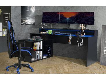 FORTE Gamingtisch Tezaur, mit RGB-Beleuchtung und Halterungen TOPSELLER B/H/T: 200 cm x 91,1 125,4 schwarz Computertische Bürotische Schreibtische Büromöbel Gaming-Tisch