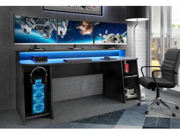 FORTE Gamingtisch Tezaur, mit RGB-Beleuchtung und Halterungen TOPSELLER 200x54,3 cm schwarz Computertische Bürotische Schreibtische Büromöbel Tisch