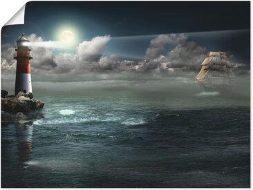 Artland Wandbild Leuchtturm unter Beleuchtung, Gebäude, (1 St.), in vielen Größen & Produktarten -Leinwandbild, Poster, Wandaufkleber / Wandtattoo auch für Badezimmer geeignet B/H: 60 cm x 45 cm, Poster blau Kunstdrucke Bilder Bilderrahmen Wohnaccessoires