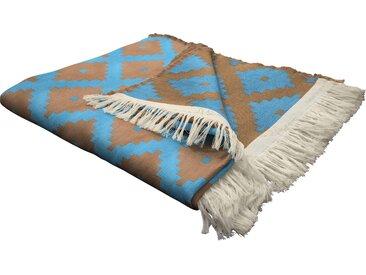 Wohndecke Maroccan Shiraz, Adam 145x190 cm, Baumwolle blau Baumwolldecken Decken Wohndecken