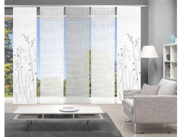 Vision Schiebegardine GRASIL 5er SET, Bambus-Optik, Digital bedruckt 260 cm, Paneelwagen, 60 cm grau Übergardinen Gardinen Vorhänge