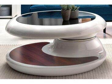 SalesFever Couchtisch, Tischplatte um 360° drehbar B/H/T: 90 cm x 42 cm, mit weiß Couchtische rund oval Tische Couchtisch