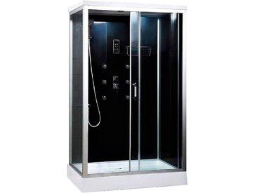 HOME DELUXE Komplettdusche Wave XL, mit LED Beleuchtung und Radio Einheitsgröße schwarz Duschkabinen Duschen Bad Sanitär