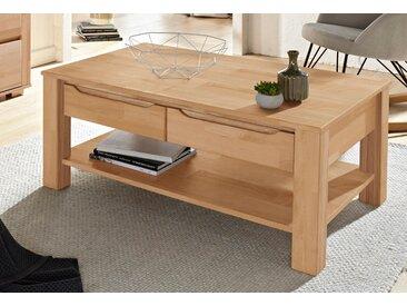 Home affaire Couchtisch Denis Tischplatte: Massivholz, Gestell: Breite 110 cm, rechteckig beige Couchtische eckig Tische Tisch