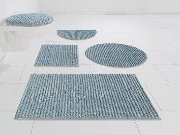 andas Badematte Renat, Höhe 15 mm, Badteppich, Badgarnitur, Badezimmerteppich in Pastell, waschbar, geeignet für Fußbodenheizung, schnell trocknend halbrund (50 cm x 80 cm), 1 St. blau Einfarbige Badematten