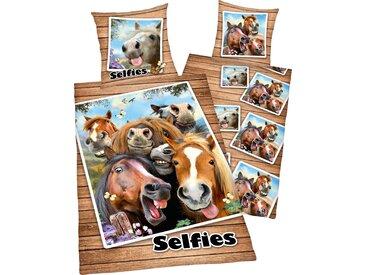 Kinderbettwäsche Selfies Pferde, mit Pferdeköpfen 1x 135x200 cm, 80x80 Renforcé braun Bettwäsche-Sets Bettwäsche, Bettlaken und Betttücher Bettwäsche