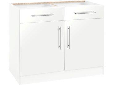 wiho Küchen Unterschrank Cali 100 x 82 57 (B H T) cm, 2-türig weiß Unterschränke Küchenschränke Küchenmöbel Schränke