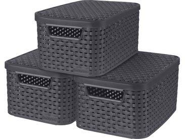 Curver Aufbewahrungsbox Style, (Set, 3 St.), mit Deckel anthrazit, x 7 Liter Einheitsgröße grau Kleideraufbewahrung Aufbewahrung Ordnung Wohnaccessoires