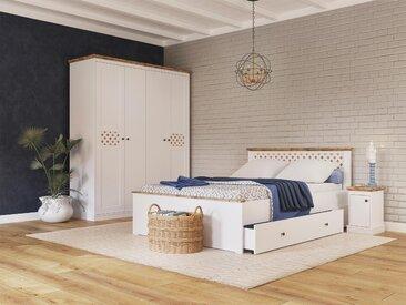 Home affaire Bett Justine 140x200 cm Höhe Bettseite: 44,5 cm, ohne Matratze, mit Schubladen weiß Einzelbetten Betten