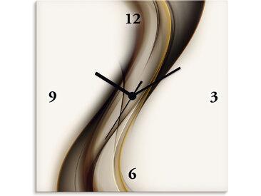 Artland Wanduhr Welle, lautlos, ohne Tickgeräusche, nicht tickend, geräuschlos - wählbar: Funkuhr o. Quarzuhr, moderne Uhr für Wohnzimmer, Küche etc. Stil: modern B/H/T: 30 cm x 1,7 cm, braun Wanduhren Uhren Wohnaccessoires