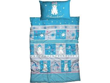 Kinderbettwäsche Schneehase, ADELHEID 1x 100x135 cm, 65x40 Biber blau Bettwäsche cm nach Größe Bettwäsche, Bettlaken und Betttücher